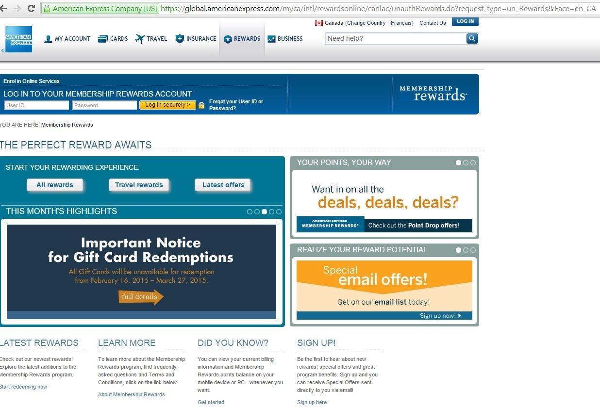 1 - Membership Rewards Homepage