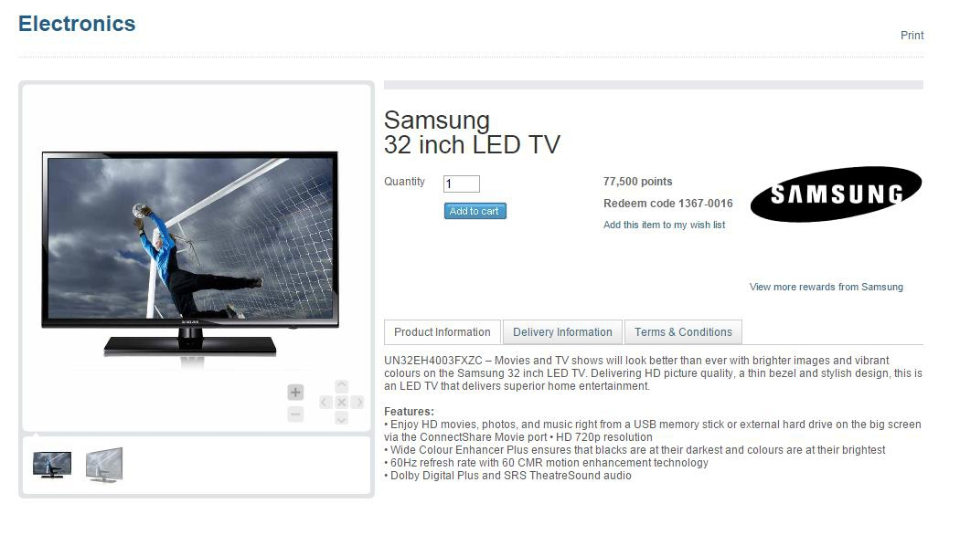 4 - Membership Rewards Samsung TV