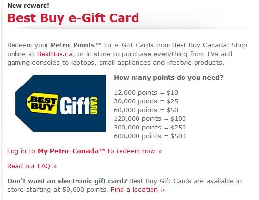 Petro Points Redeem - Best Buy e-Gift