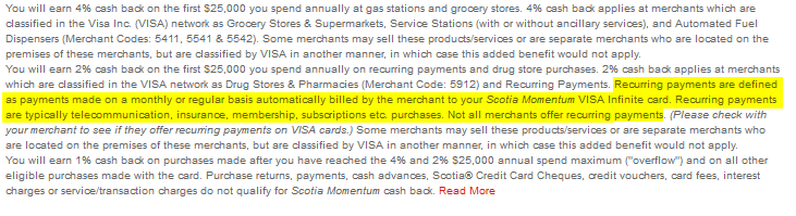 Scotia Momentum - Recurring Payments