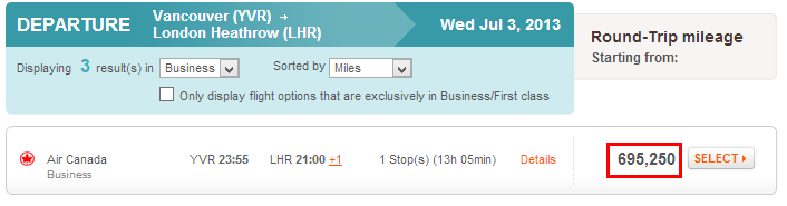 Aeroplan unreasonable mileage
