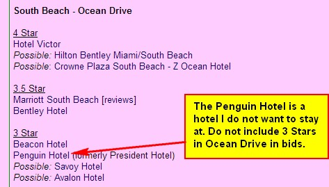 Miami Beach Hotel Lists