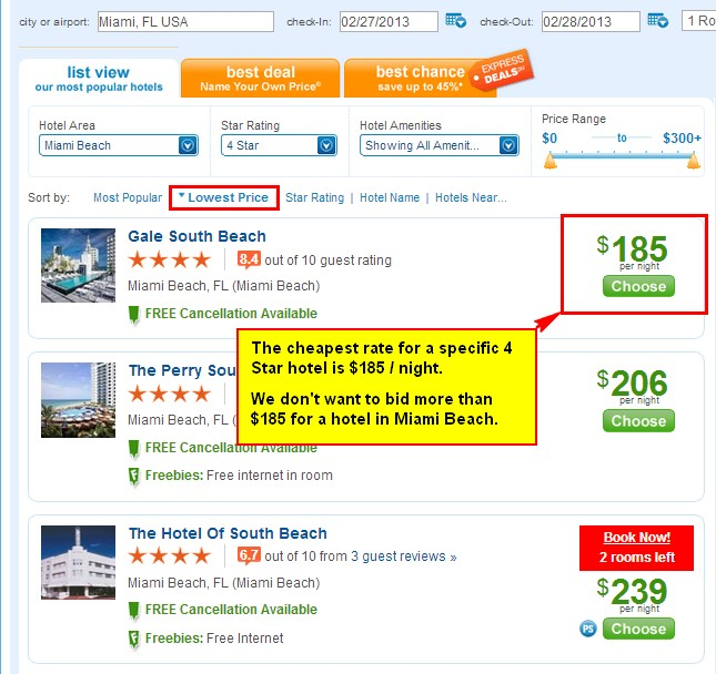 Priceline List View