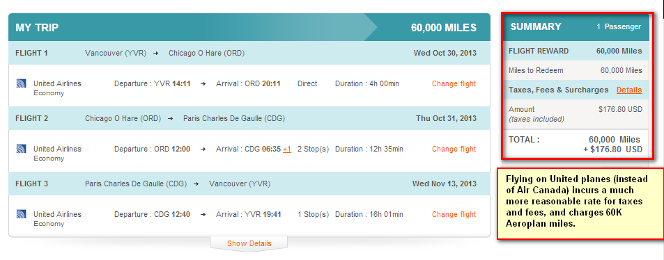 Aeroplan option YVR-CDG on UA