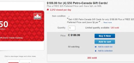 Quick Deal – $225 Petro Canada Gas for $185 on eBay